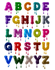 Latin alphabet bold font made of colorful glaze with falling drops in high resolution (part 1. Letters)