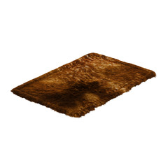 Brown fluffy fur carpet on a white background 3d rendering