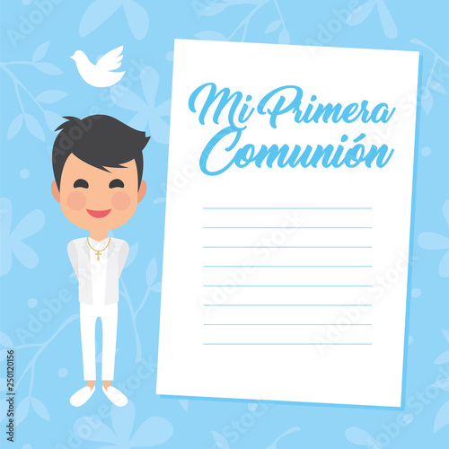 My first communion invitation with message on blue background