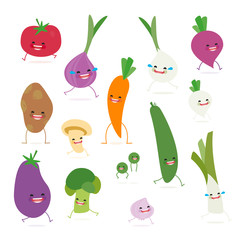 Cartoon vegetables cute characters face on isolated background. Vector collection . Emoticon emoji. Funny food concept.