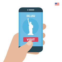 Buy ticket. United States Travel. Payment smartphone concept. Visit city