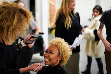 British singer Emeli Sande is seen backstage of the 'Oxfam Fashion Fighting Poverty' catwalk at London Fashion Week Women's A/W19 in London
