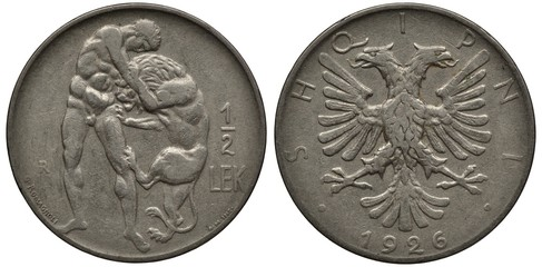 Albania Albanian coin 1/2 half lek 1926, Hercules wrestling Nemean lion, eagle with two heads, date below,
