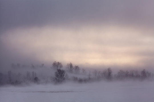 Ground blizzard, 30-below wind chills in farm country of New York State, USA.