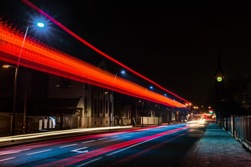 Night view of bus lights trace on the city road, Strasbourg, France