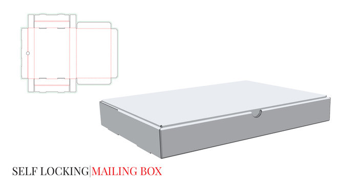 Mailing Box Template, Vector with die cut / laser cut layers. Self Locking Box. Cut and Fold. White, clear, blank, isolated Mailing Box mock up on white background. Packaging Design, 3D presentation