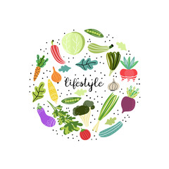 Healthy lifestyle. Vegetables arranged in circle. Concept of fresh and organic products. Isolated cartoon illustration for kid game, book, t-shirt, textile, etc.