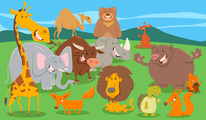 wild animal characters group in the wild