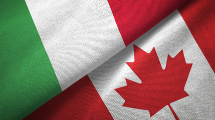 Italy and Canada two flags textile cloth, fabric texture