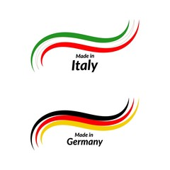 Simple logos Made in Italy, Made in Germany, vector logos with Italian, German flags