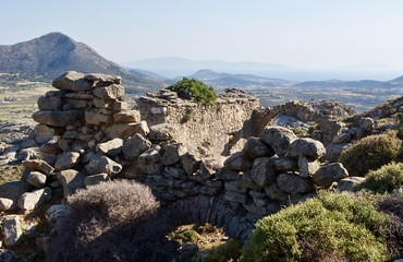 Hiking up the Mountain to the Ancient Rocky Ruins in the Greek Islands