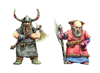 Dwarves warriors drawing. Pencil fantasy illustration.	Dwarf with ax.