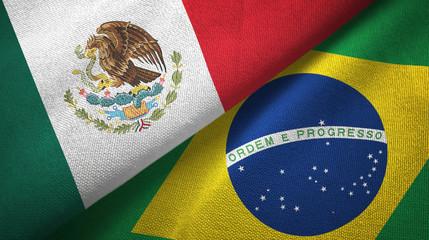 Papiers peints Brésil Mexico and Brazil two flags textile cloth, fabric texture