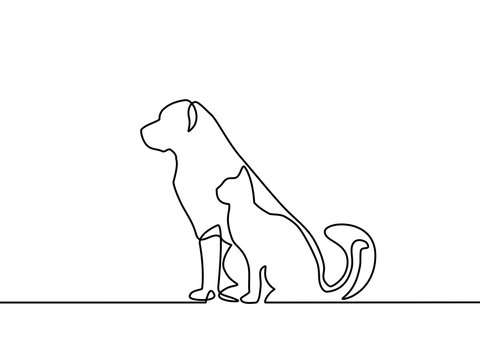 Continuous line drawing of dog and cat logo. Black and white vector illustration. Vector