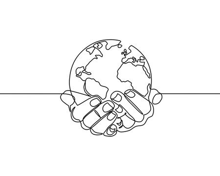Continuous line drawing of hands holding Earth globe. vector illustration for banner, poster, web, template, business card. Black thin line image of hands holding Earth globe icon - Vector