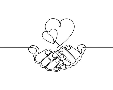 Continuous one line drawing. hands holding heart on white background. Black thin line of hand with heart image. - Vector