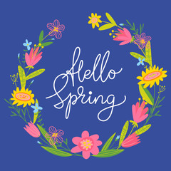 Vector spring easter card with flowers and calligraphy
