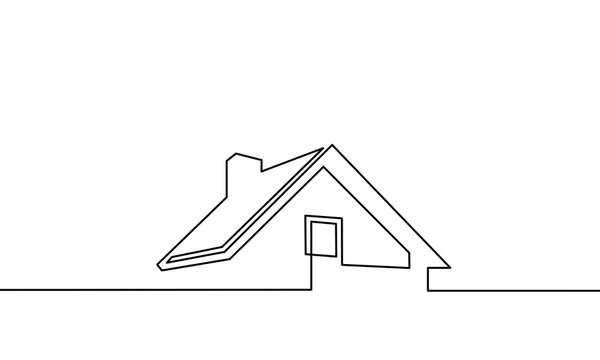 continuous one line drawing. house, roof, real estate. Black and white vector illustration. - Vector