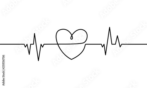 Continuous Line Drawing Of Heart With Heartbeat On Black And White