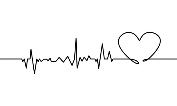 Continuous line drawing of heart with heartbeat on Black and white background. Vector