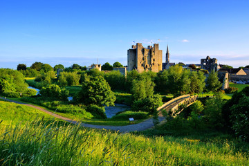 Historic Trim Castle with foot bridge. Late day light, County Meath, Ireland Wall mural