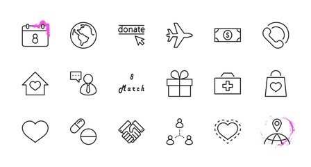International Day for the Poor Vector Line Icons Set. Contains such Icons as Heart, planet Earth, Handshake, money, Donate, Medicines, Plane and more. Editable Stroke. 32x32 Pixel Perfect