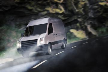 Transporter Fährt Abends durch die Landschaft 3D