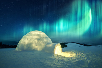 Aluminium Prints Northern lights Aurora borealis. Northern lights in winter mountains. Wintry scene with glowing polar lights and snowy igloo