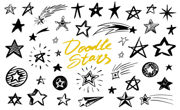 Set of Star signs. Doodle style. Collection of icons for Pattern Background. Engraved hand drawn sketch. Geometric collection of Abstract symbols.