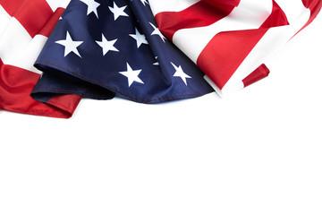 American flag border isolated on white - Image. Fototapete