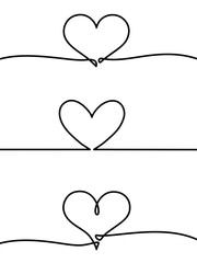 Continuous one line drawing of heart isolated on white background. vector illustration for banner, poster, web, template, valentine's card, wedding. Black thin line image of heart icon. - Vector