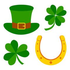Set for Saint Patrick's Day. Symbols of holiday. Clovers, hat, horseshoe. Vector illustration