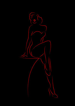 Beautiful sexy woman silhouette diva Hollywood drawn in red outline style,  vector erotic girl outline drawing in white background, burlesque fashion pin up icon style isolated or black background