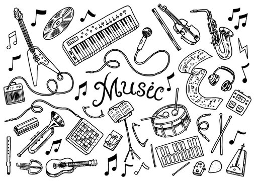 Set of musical symbols and icons. Guitar Drums Piano, creative tools and hobbies. Vintage outline sketch for web banners. Education concept. Back to school background. Hand drawn Doodle style.
