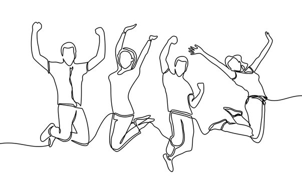 continuous line drawing of jumping happy team members. happiness, freedom, motion and people concept. smiling young friends. jumping in air. vector