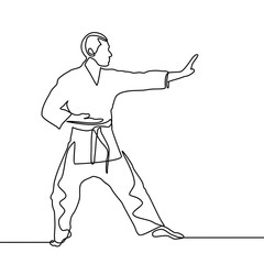 continuous line drawing of one male karate athlete - Vector
