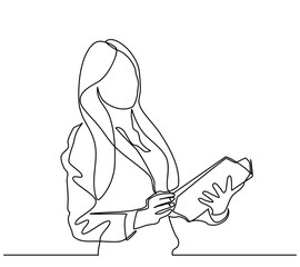 continuous line drawing of a businesswomen is opening a book. one vector line - Vector