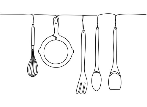 Continuous one line drawing. Fork, spoons, knife plates and all eating and cooking utensils, can be used for restaurant logos, cakes, business cards, banners and others. Black and white vector illustr