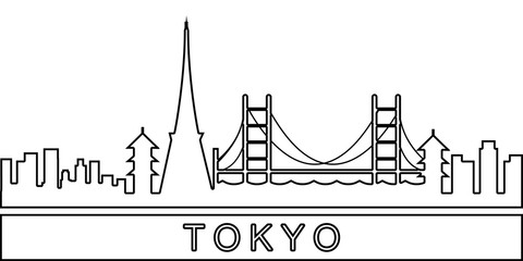 Tokyo detailed skyline icon. Element of Cities for mobile concept and web apps icon. Thin line icon for website design and development, app development