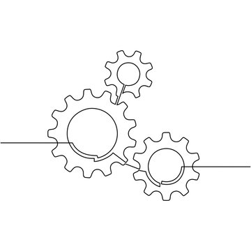 Continuous line drawing of gears wheel. Gears are drawn by a single line on a white background. Vector - Vector
