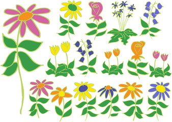Loose vector flower sketches