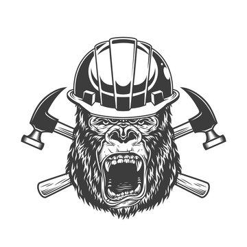 Ferocious gorilla head in builder helmet