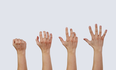 Catching, reaching for something. View of the hands that try to achieve something, get it. Hands in different positions, progress in getting something. Ordering, grabbing something.
