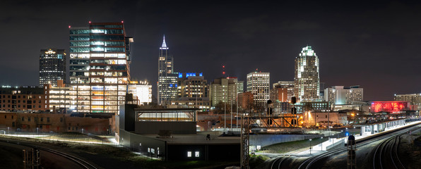 Panorama of Raleigh skyline at night