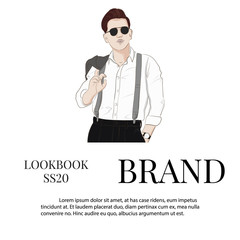Handsome vector hand drawn guy in stylish elegant clothes and glasses. Man Business look. Trendy sketch of street style. Runaway fashion illustration.