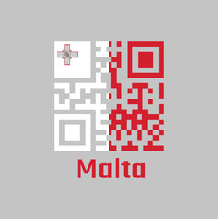 QR code set the color of Malta flag. A vertical of white and red with the representation of the George Cross edged.