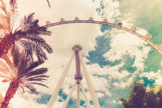 High Roller Ferris wheel with vintage retro filter, Las Vegas Nevada