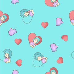 Seamless cartoon pattern with girl likes and heart