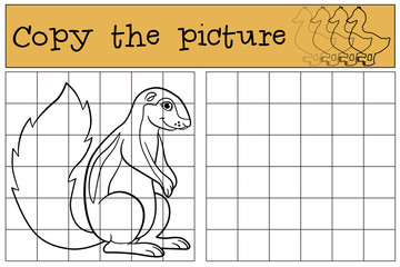 Educational game: Copy the picture. Little cute xerus smiles.