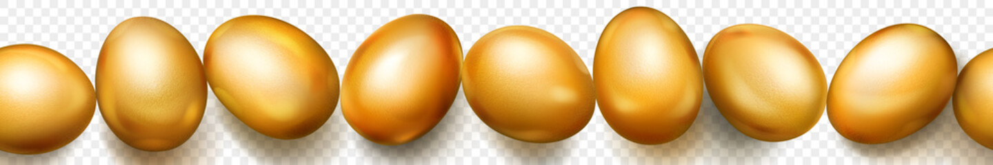 Horizontal seamless banner with horizontally repeated realistic golden Easter eggs with soft shadows on transparent background